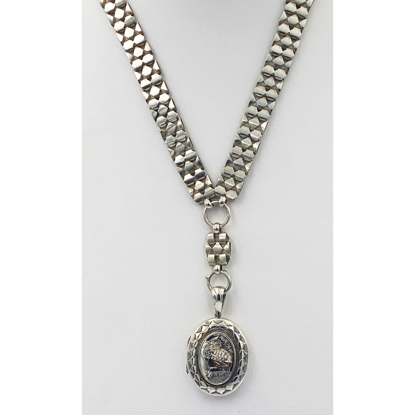 Wonderfully Wide Victorian Silver Collar w/ Extender