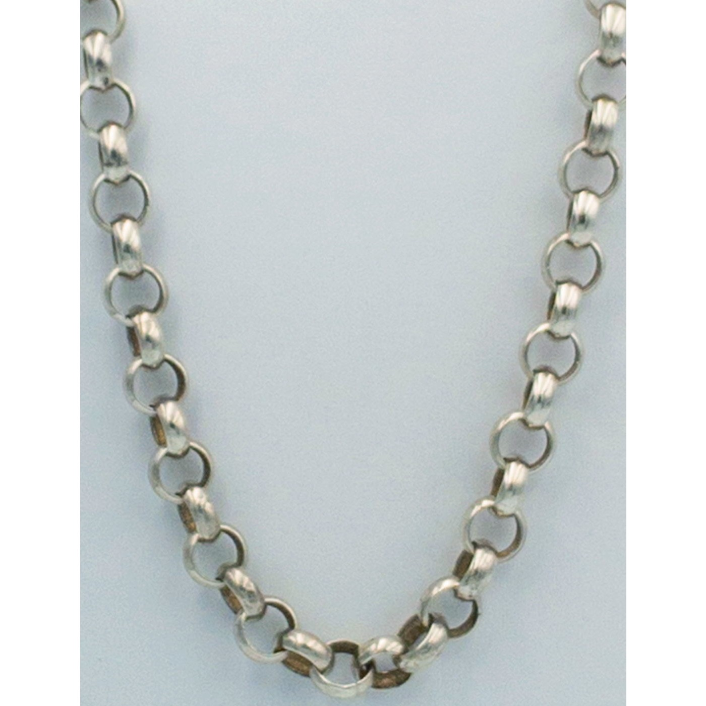 Fabulous Fat Rolled Round Medium Width Links Antique English Silver Chain