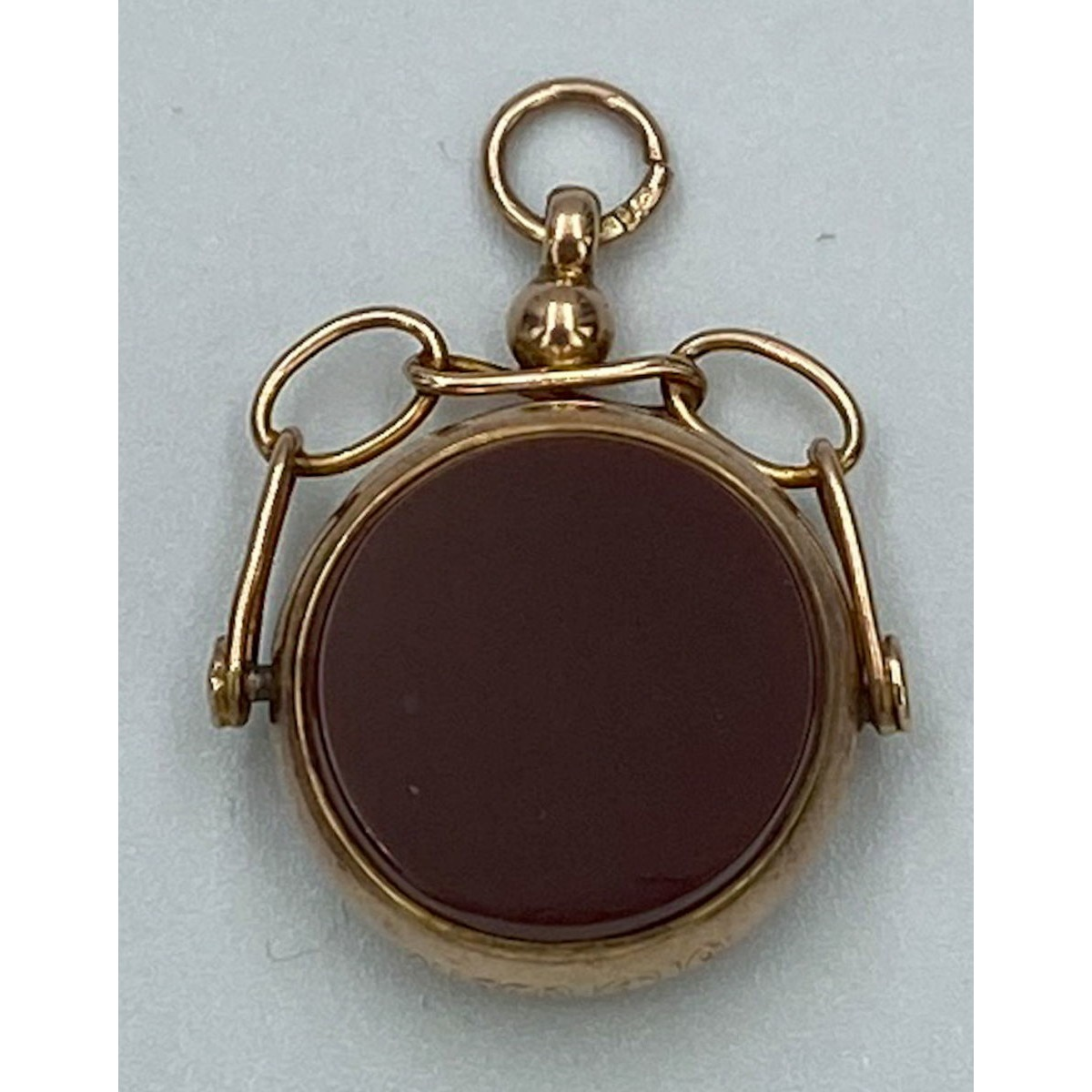 Open Link Bezel Antique English Gold Spinner Fob - Carnelian and Bloodstone