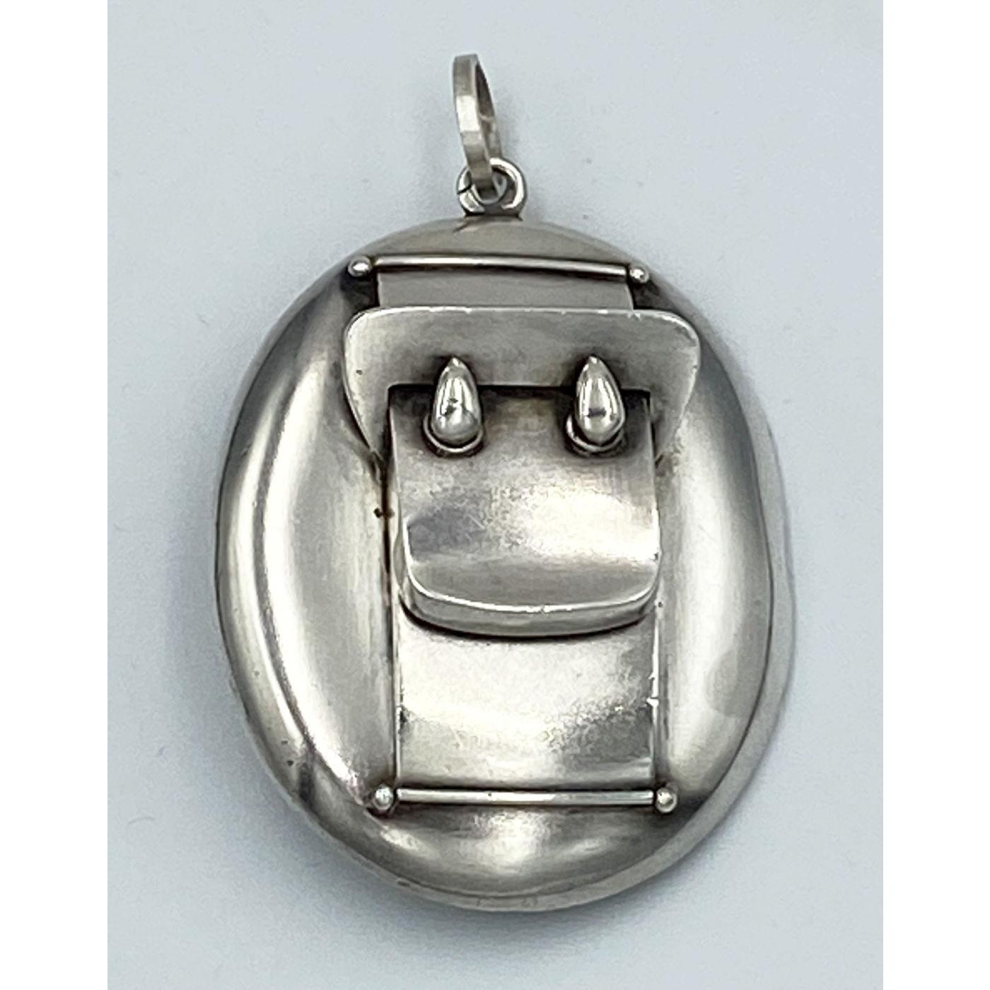 Unusual Bold, Large Plain Buckle Antique English Silver Locket