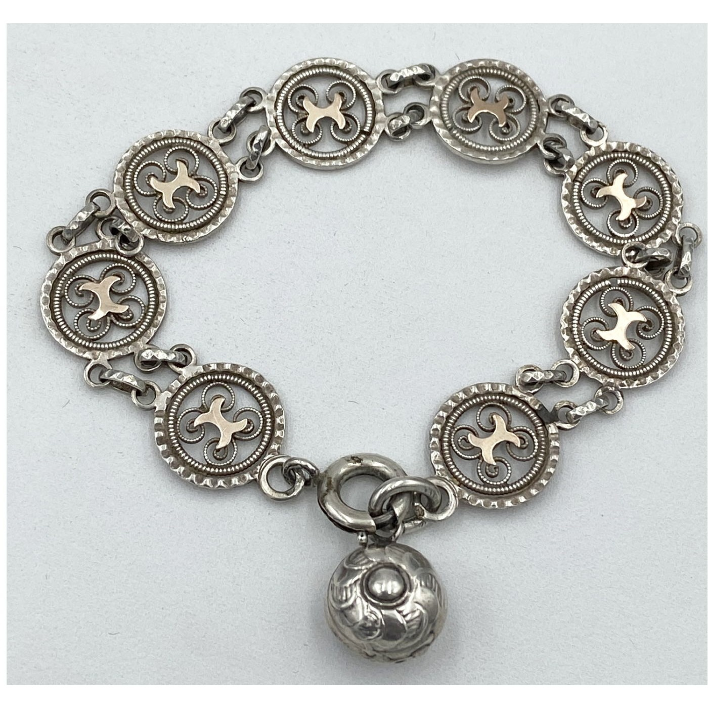 Intricate Links with Rose Gold Highlights Victorian English Silver Bracelet