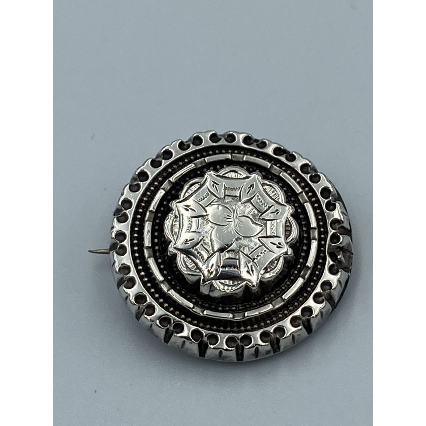 Beautiful Layered Floral Victorian English Silver Pin