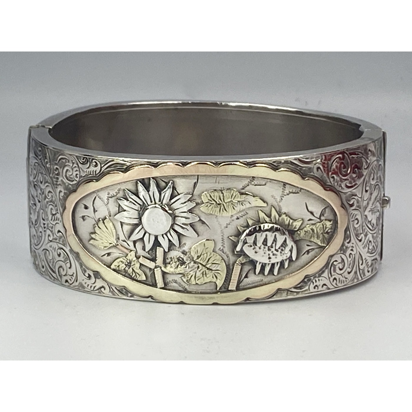 Raised, Bold Sunflower-type Flowers, Rose and Yellow Gold Decoration, English Silver Bangle