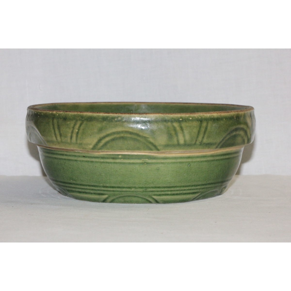 Green Glazed Arcs and Lines Yellowware Milk Bowl