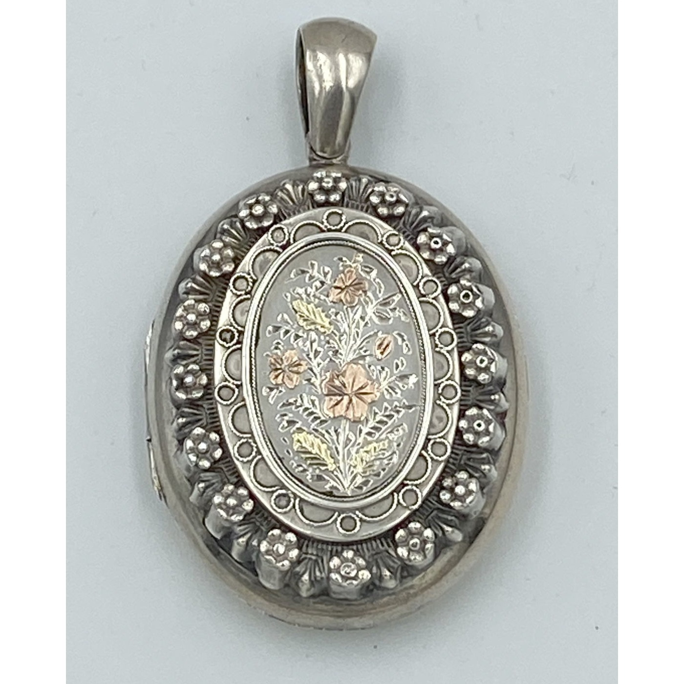 Highly Adorned Rose and Yellow Gold Applied Flowers Rosette Border Antique English Silver Locket