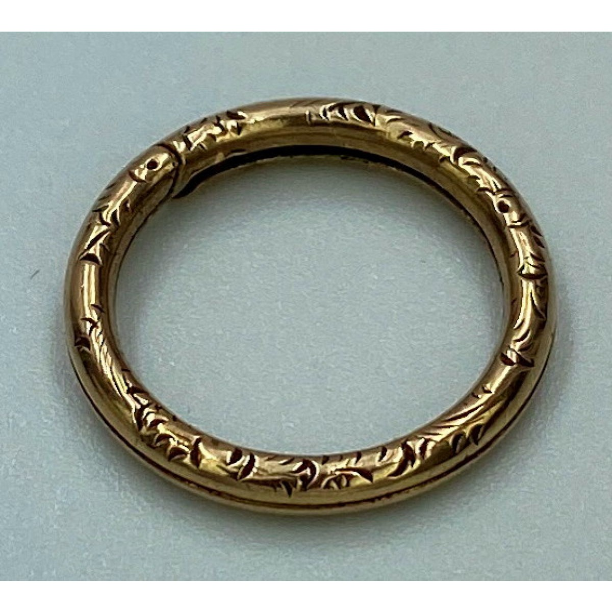 Unusual Antique English Engraved Gold Split Ring - Fun, Something Different