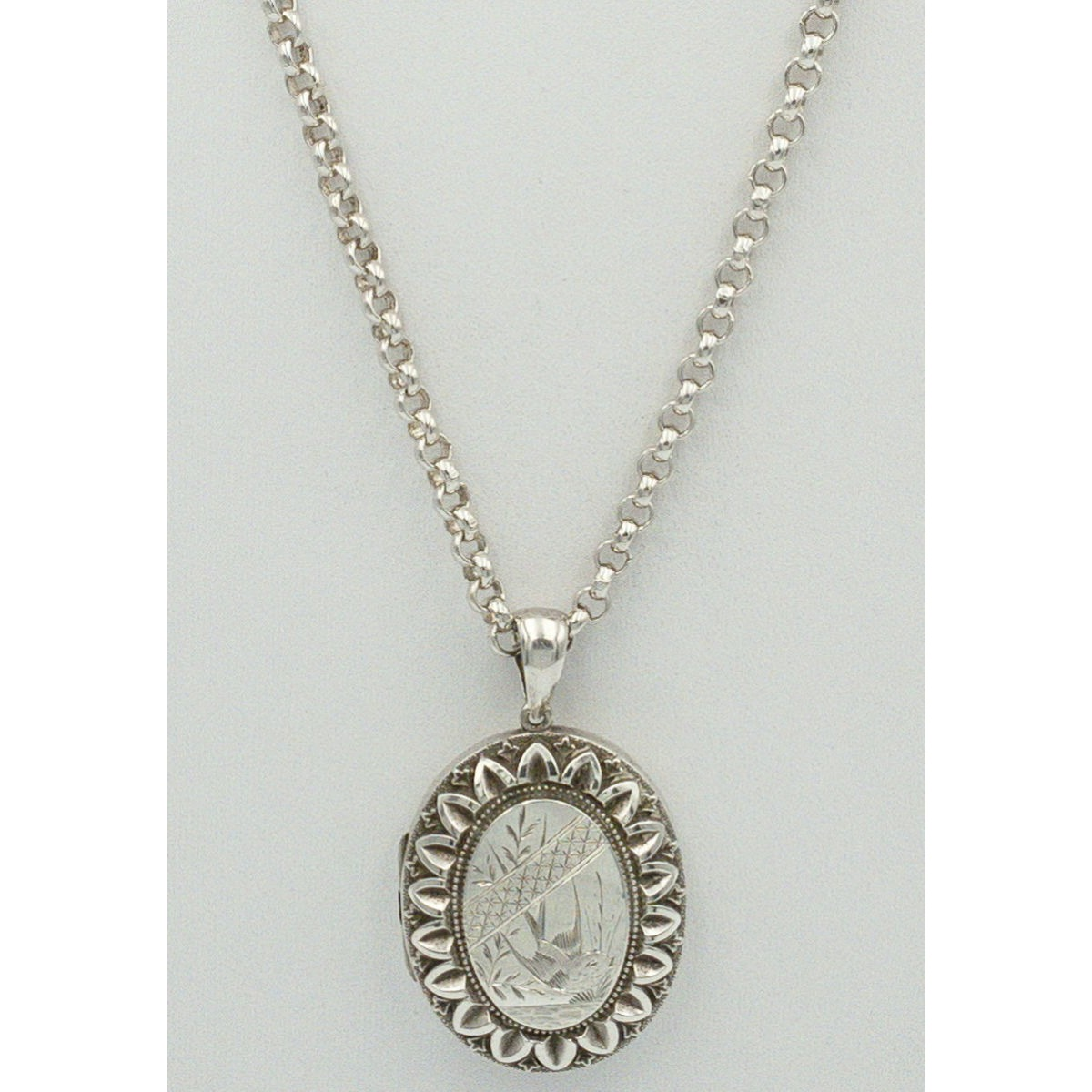 """Serviceable 24"""" Rolo Typical Link Victorian Antique English Silver Chain - Chain Only"""