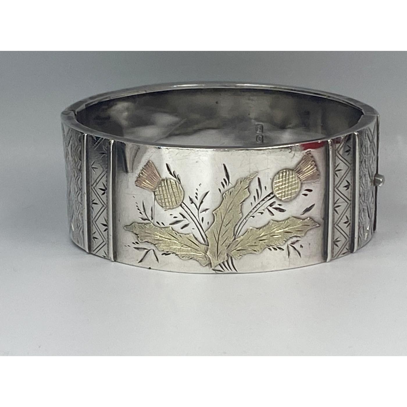 Gold Thistle Boldly Adorned English Silver Bangle