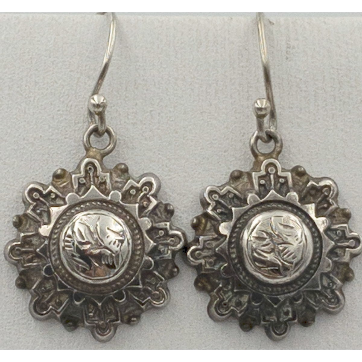 Awesome Highly Detailed, Domed Star Antique English Silver Earrings