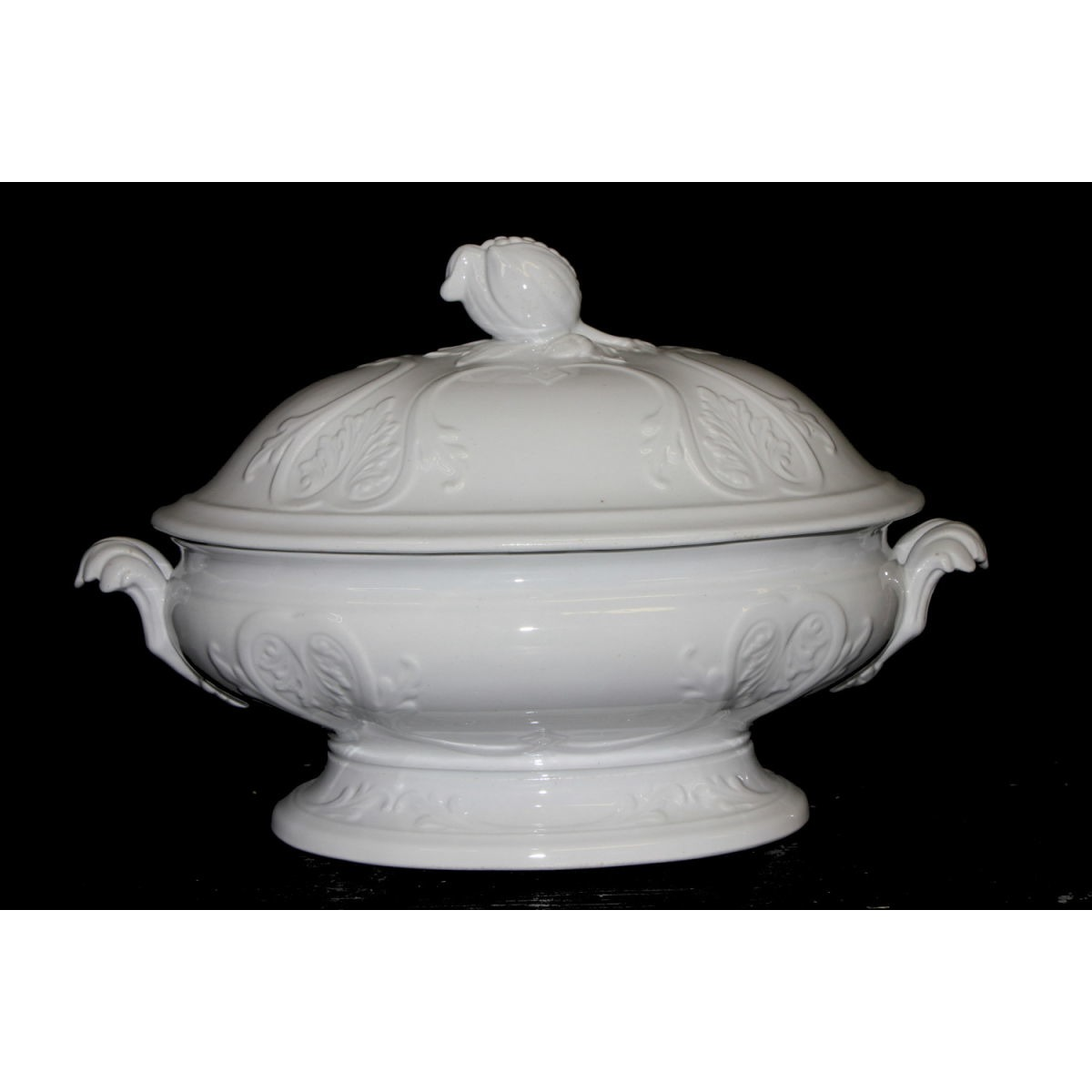 Fabulous Large New York Shape Ironstone Highly Embossed Vegetable Tureen