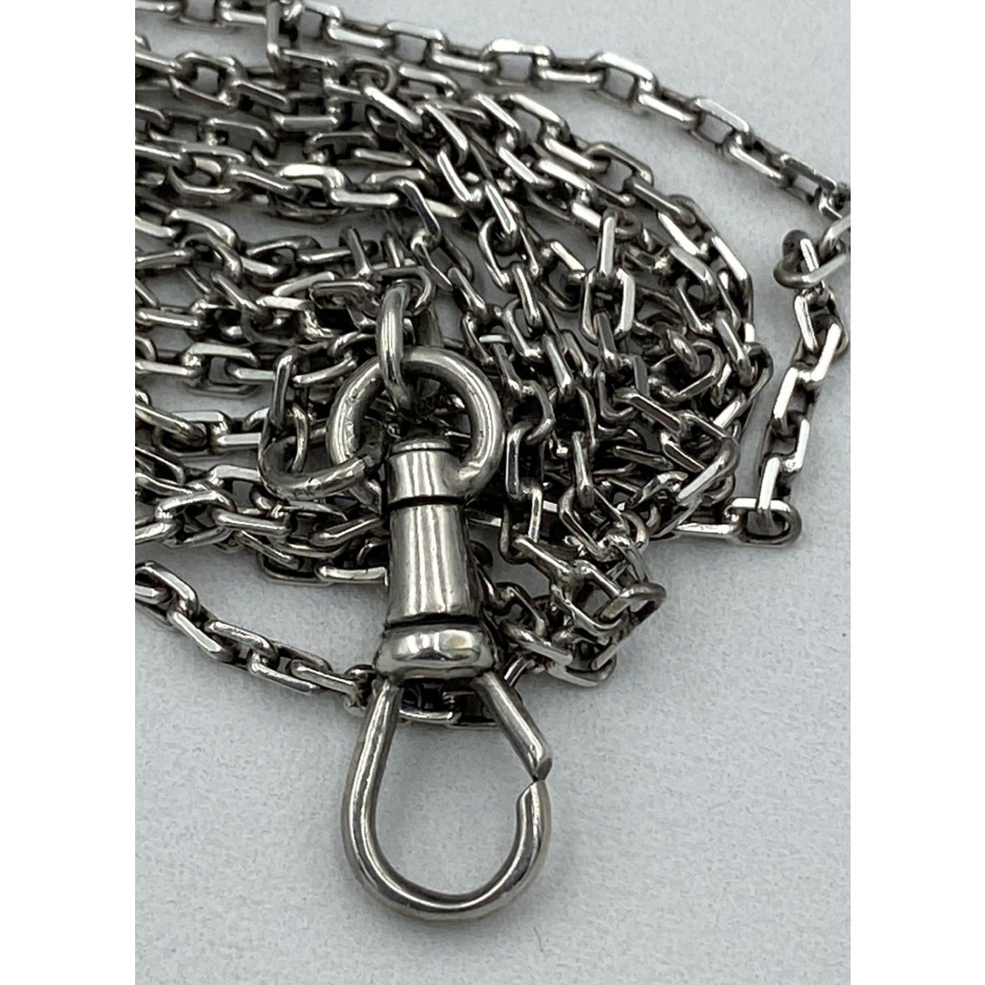 """Unique 68"""" long Victorian English Sterling Silver Chain"""