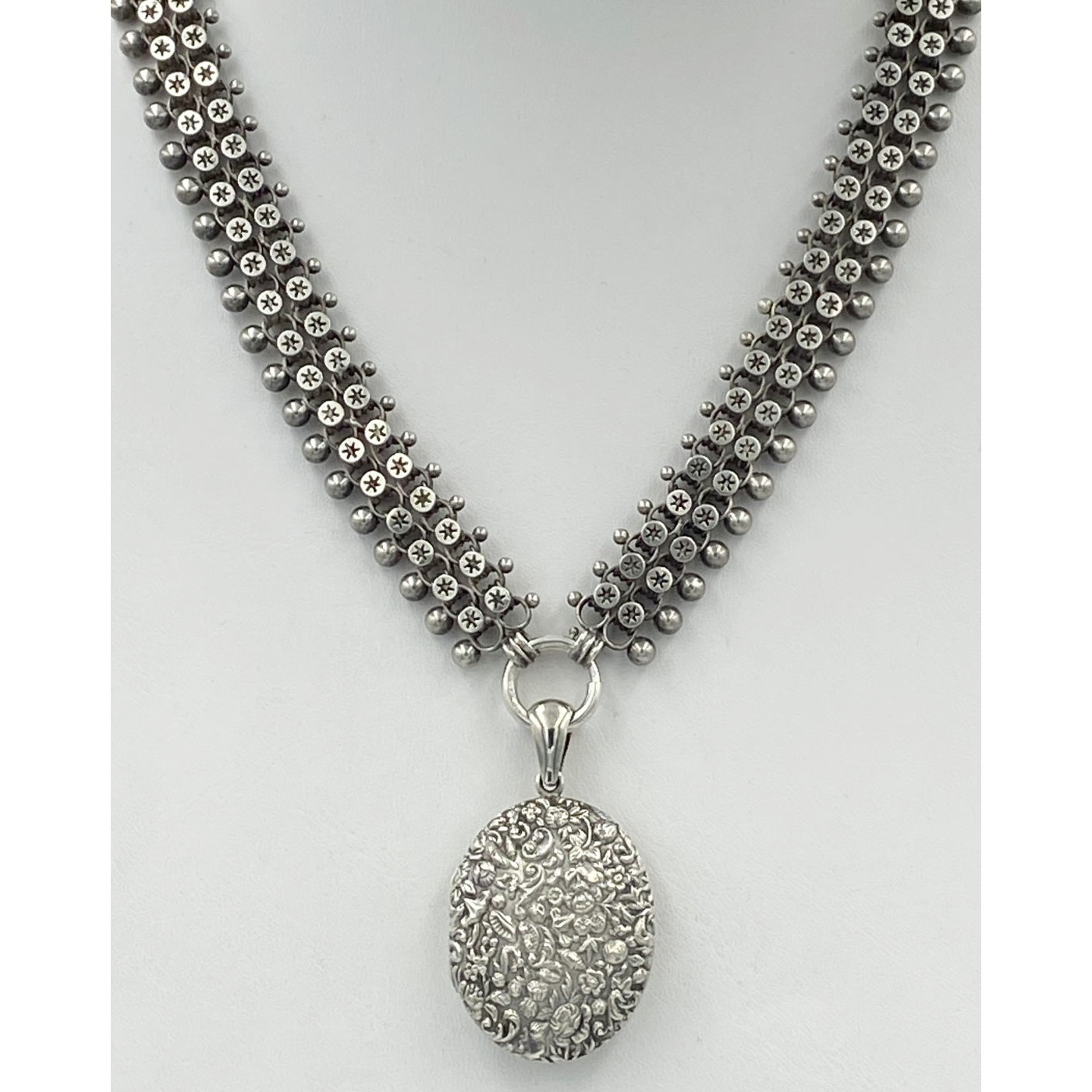 Wonderfully Wide Beaded, Double Cannonballs, Star Link Antique English Silver Chain - Chain Only