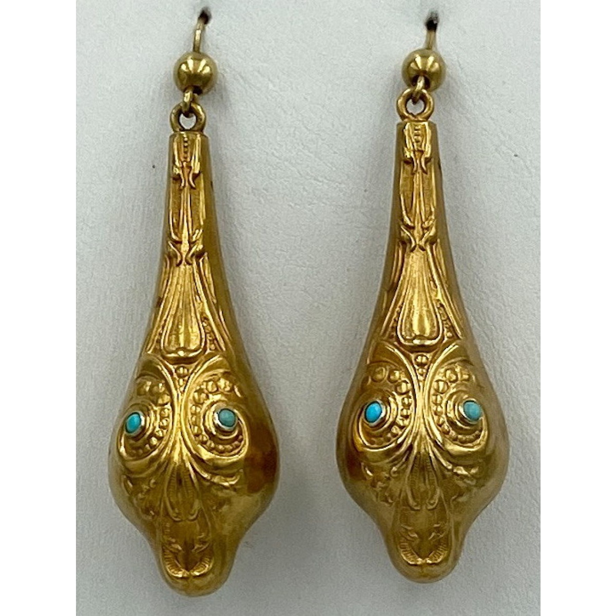 Incredible Statement Long, Hollow Engraved Antique English Gold Earrings with Turquoise