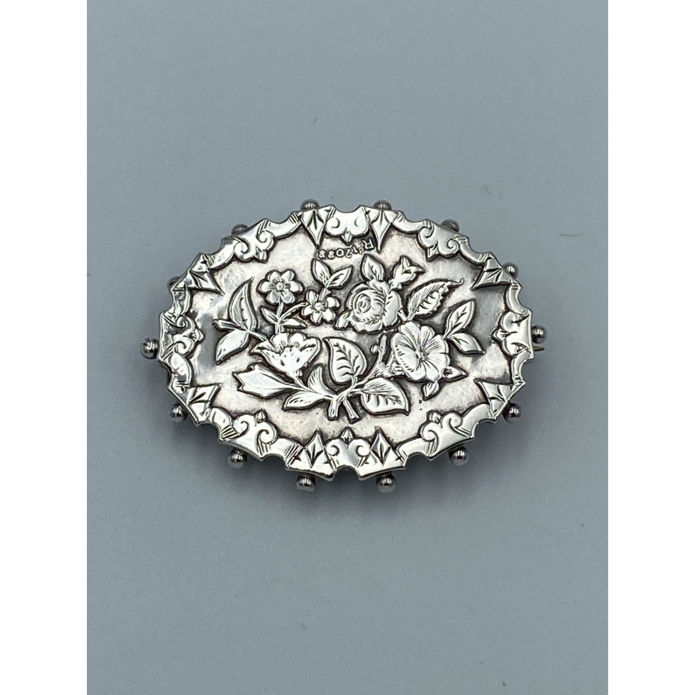 Outstanding Victorian English Silver Pin with Ornate Floral Decoration