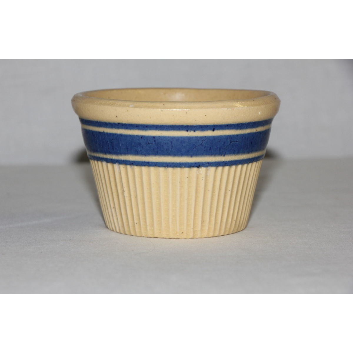 Blue Banded Ribbed Yellowware Custard Cup Bowl