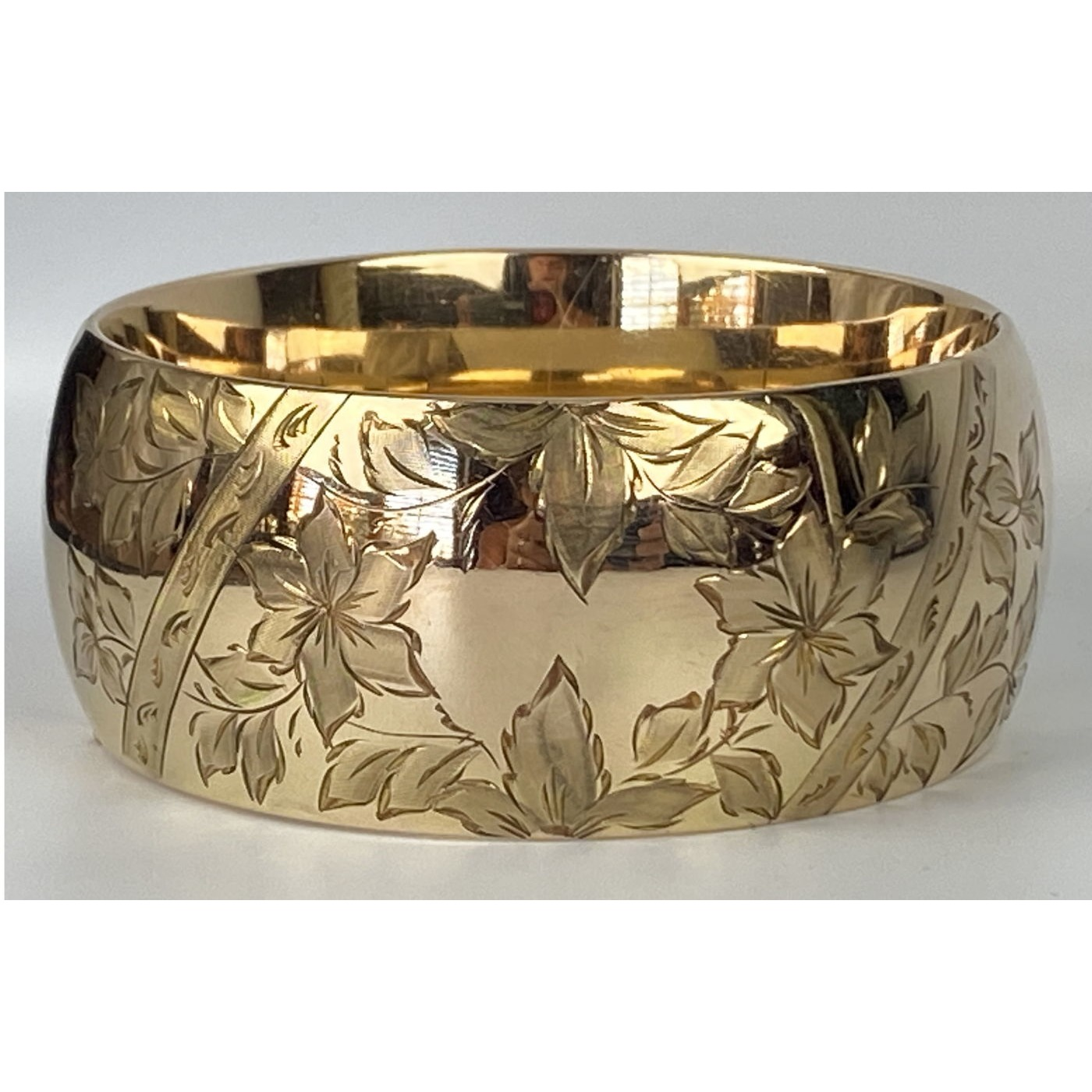 Exceptional Extra Wide Floral Engagement Bangle