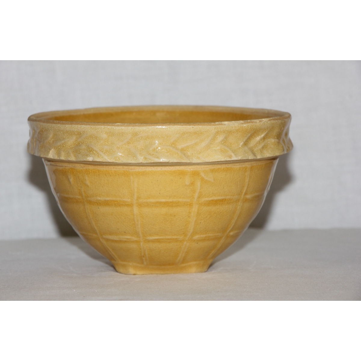 "Awesome 5"" Yellow ware McCoy Windowpane Variant Small Bowl"