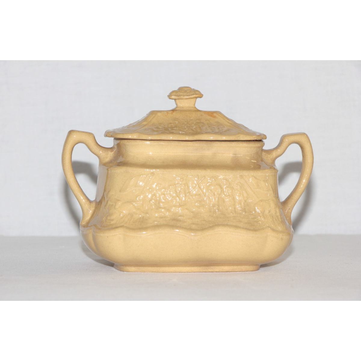 Highly Embossed Westward Ho Yellowware Sugar Bowl