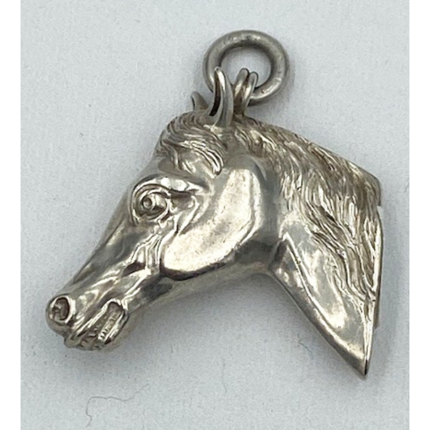 Incredible Full Body Horse Head English Silver Watch Fob Pendant
