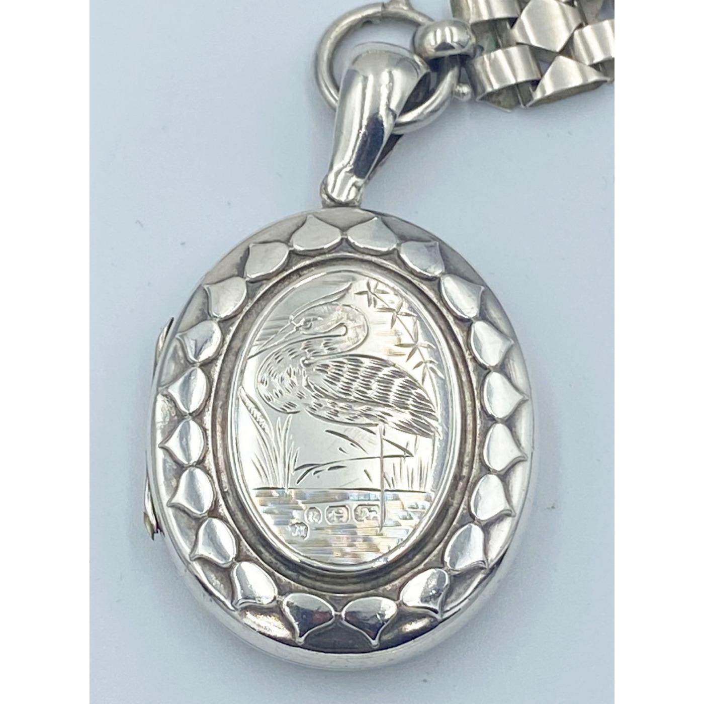 Superb Wading Bird/Stork Large Victorian Silver Locket