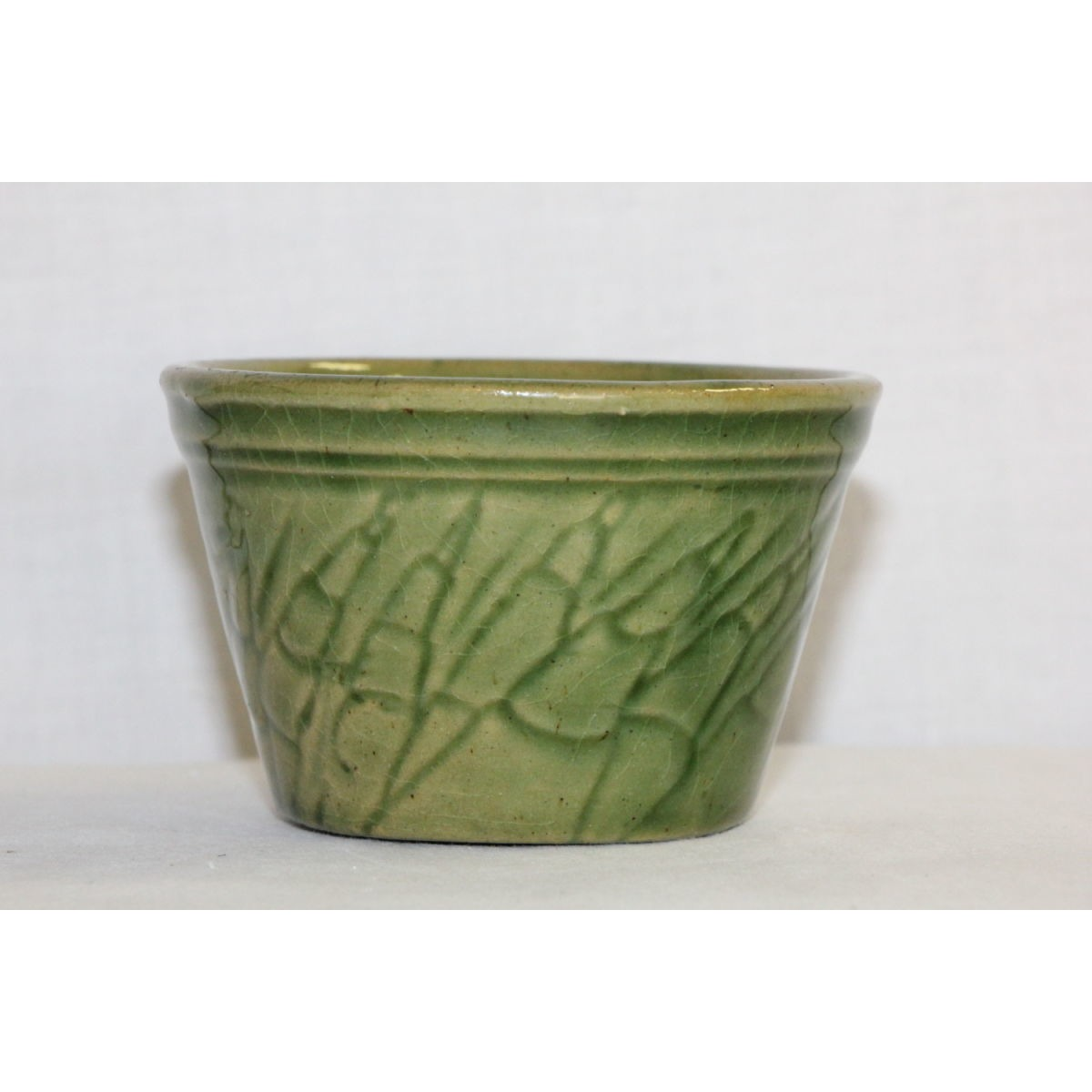 Green Glazed Yellowware Asparagus Custard