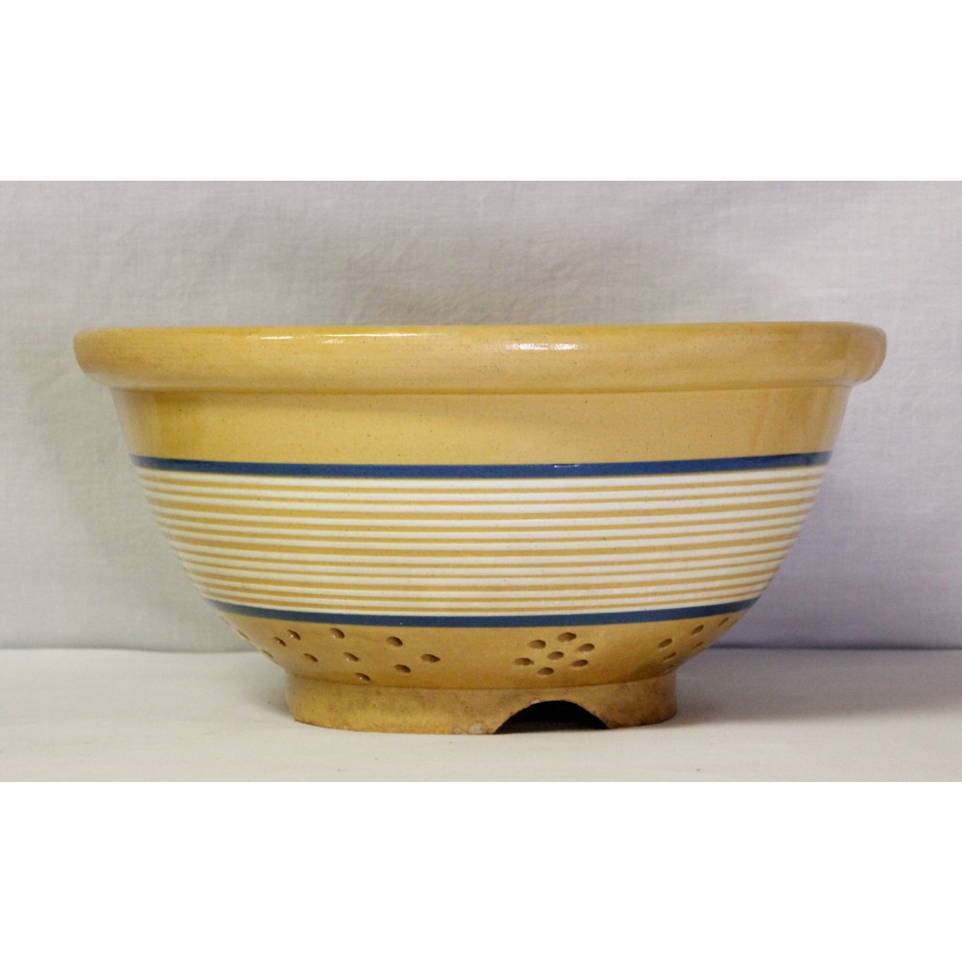 Extraordinary Blue and White Banded Yellow Ware Colander - THE BEST!