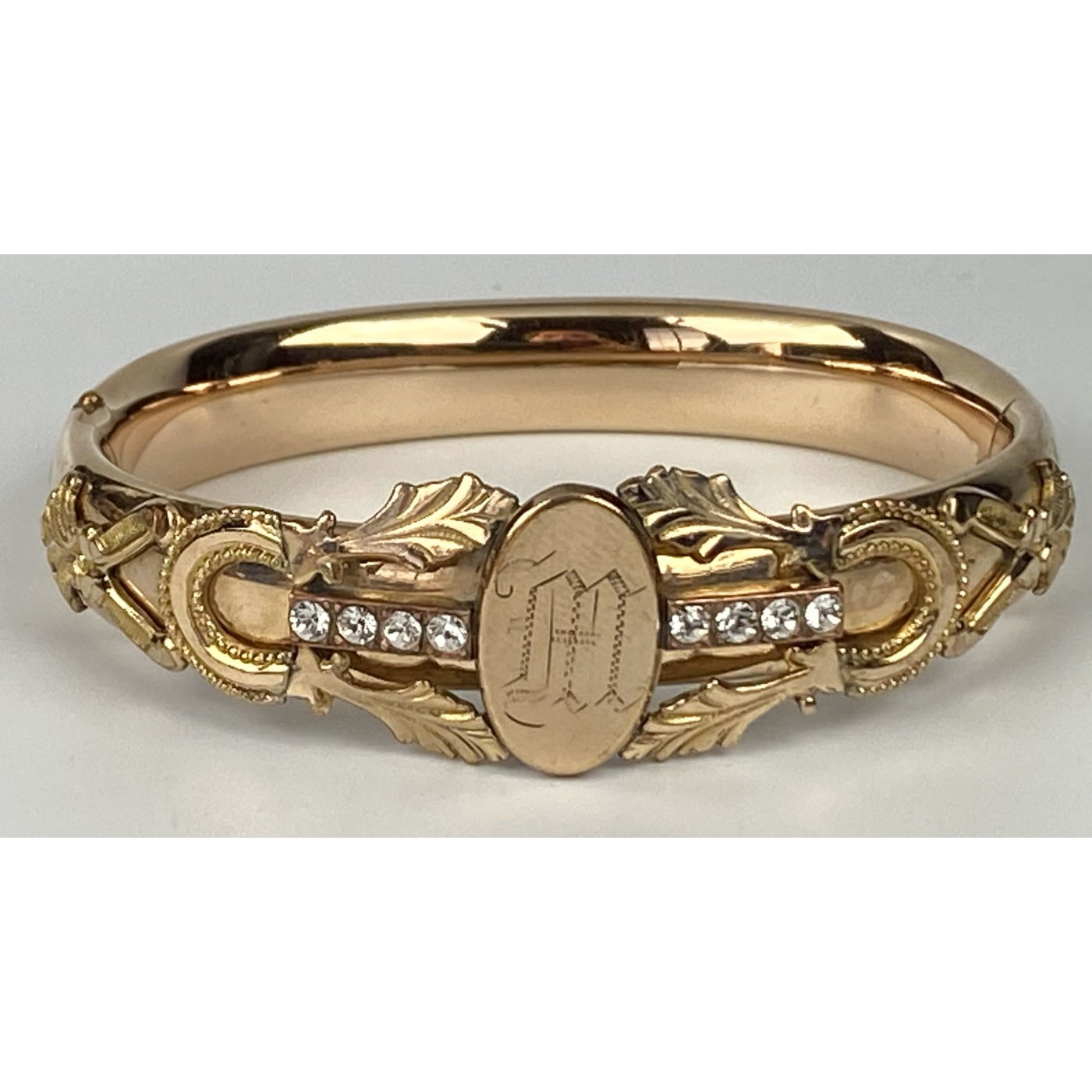 "Fabulous Monogrammed ""M"" Engagement Bangle with Stones"