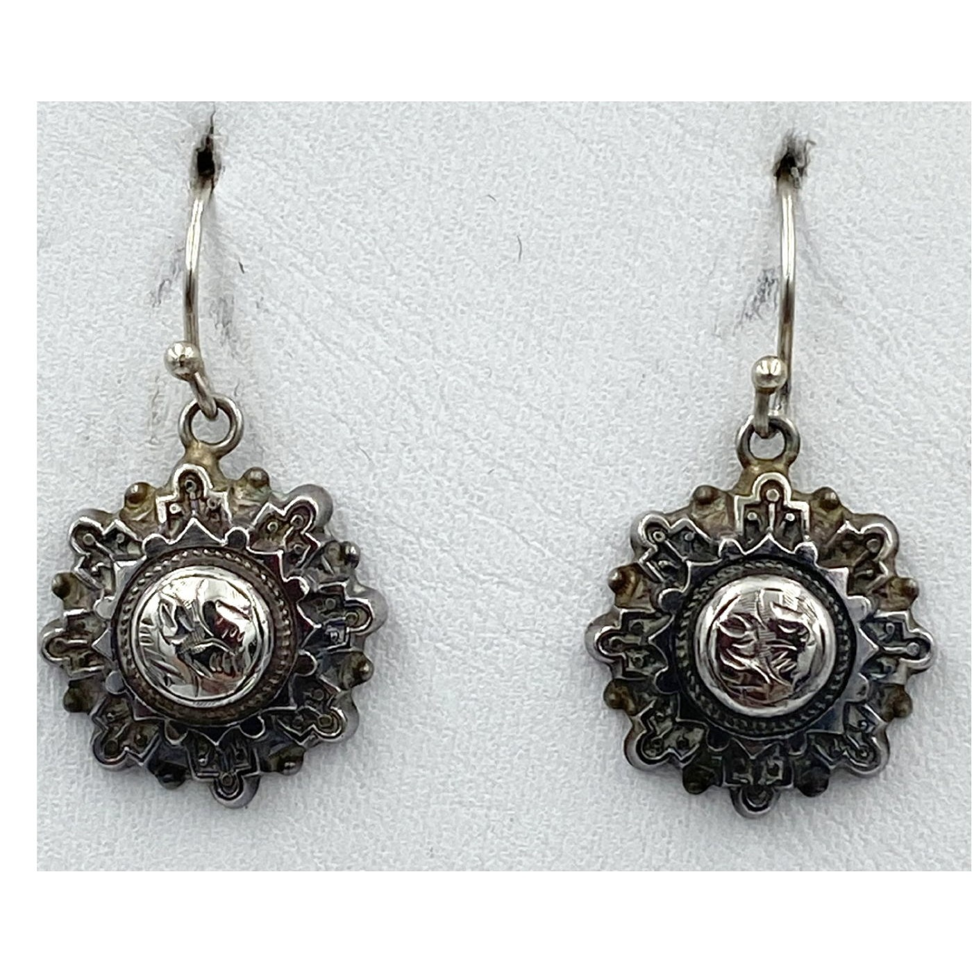 Layered Starburst Victorian English Silver Earrings