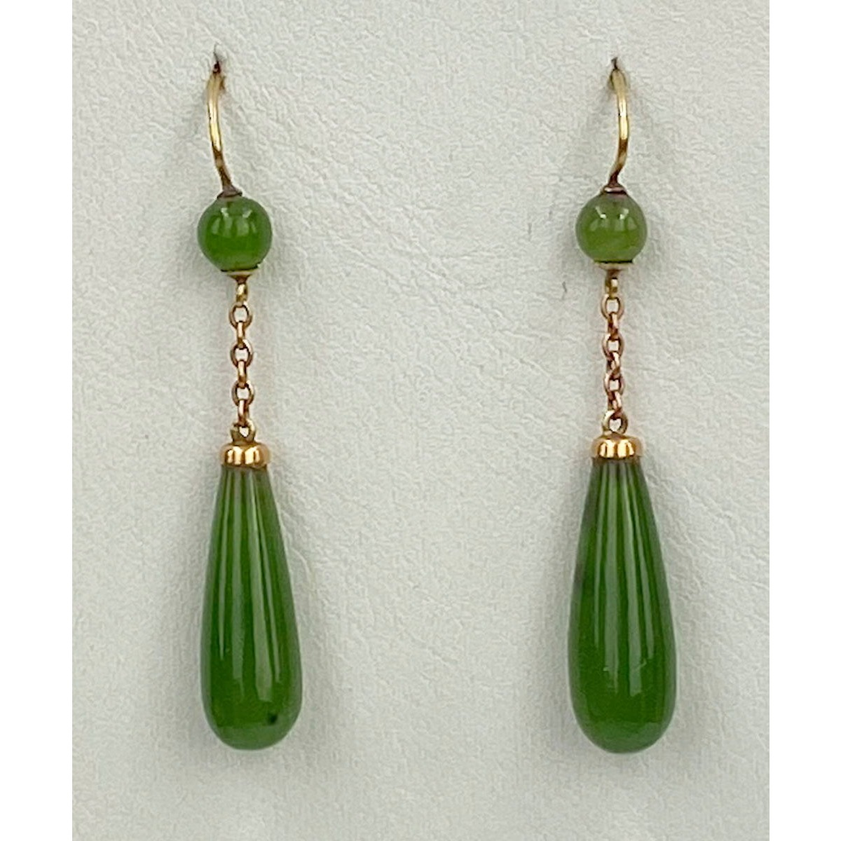 Gorgeous Jade Pendant Earrings on 15 karat Gold Wires
