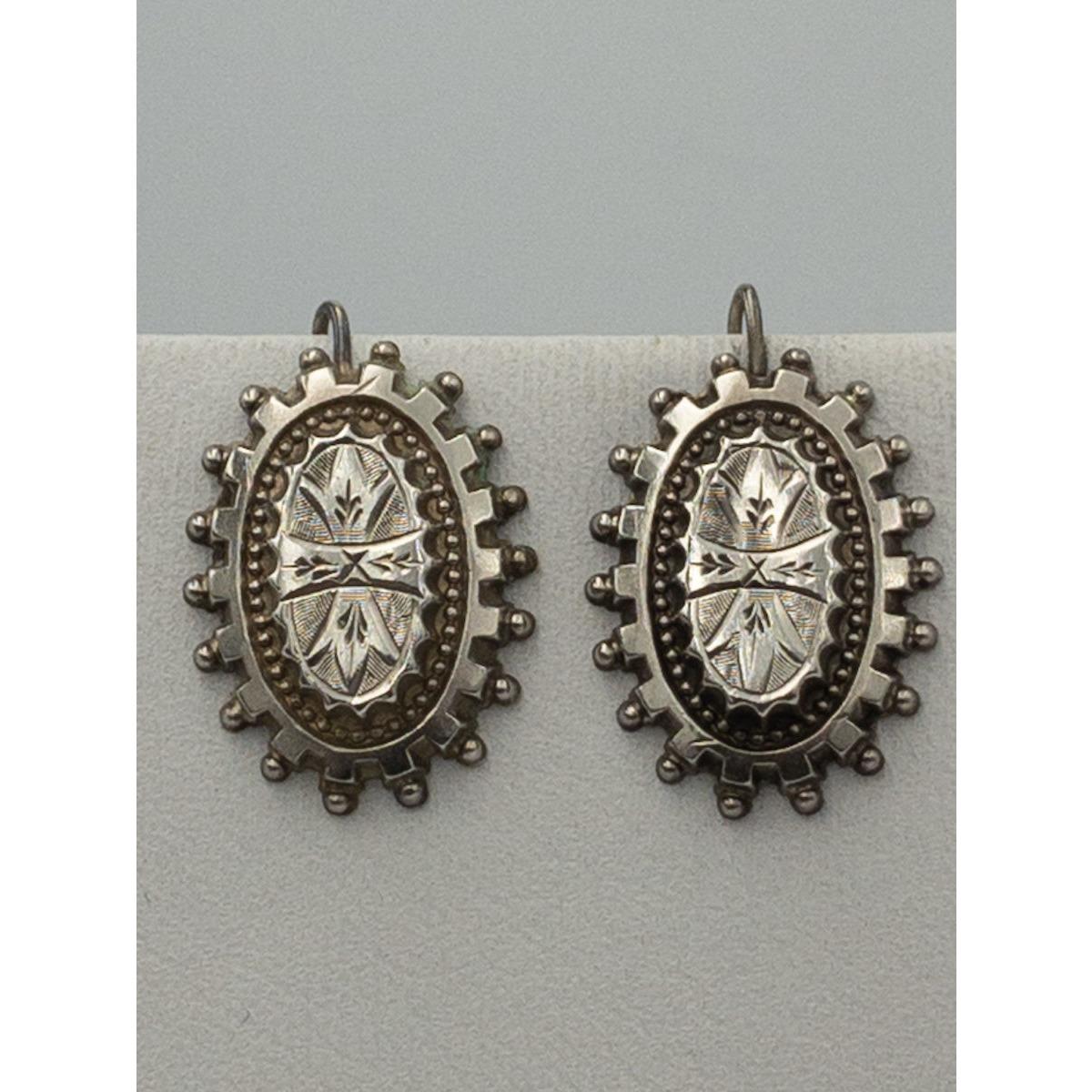 Double Beaded Border, Exterior Balls, Geometric Central Design Antique English Silver Earrings