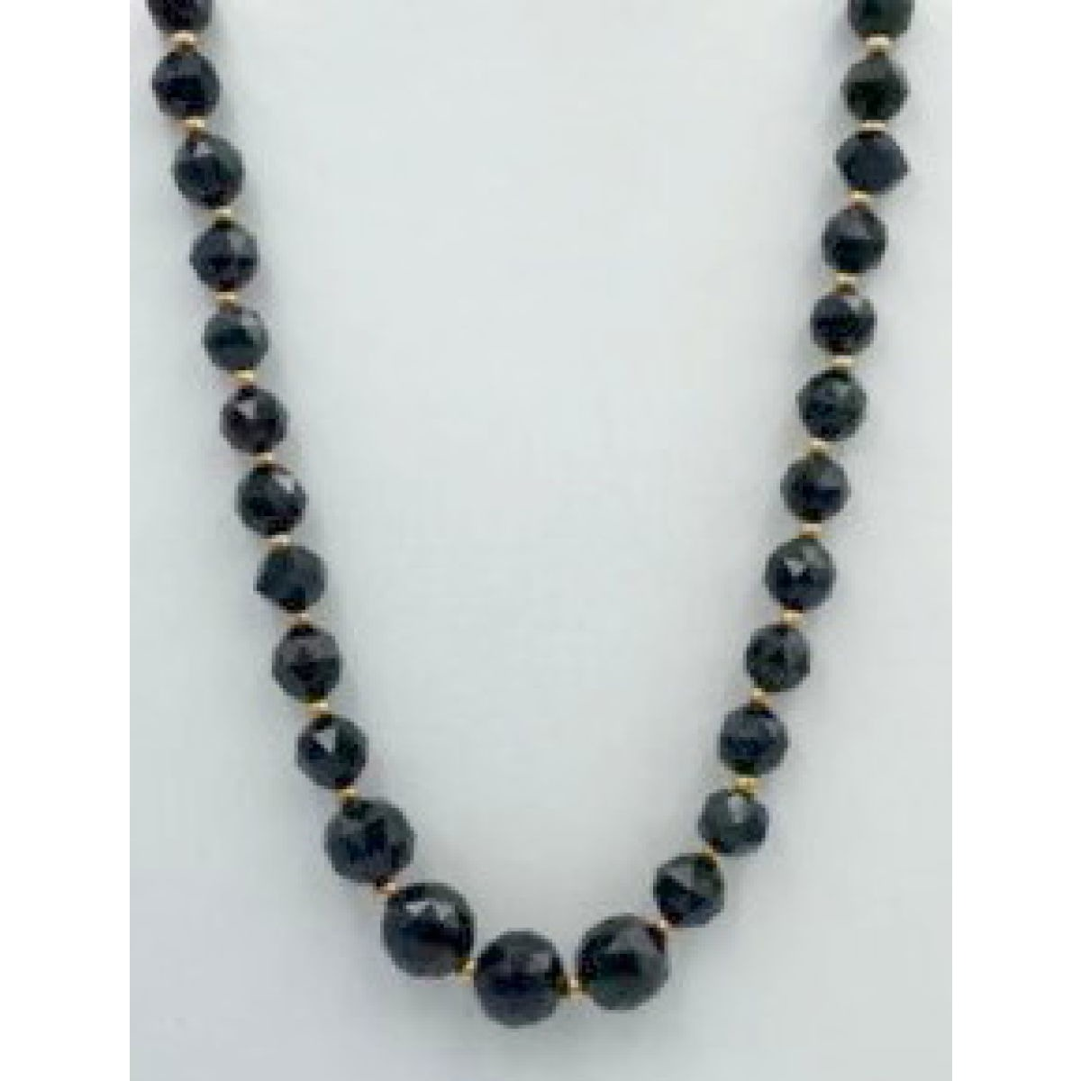 "Lovely Graduated Black Jet 15.5"" Victorian Necklace"