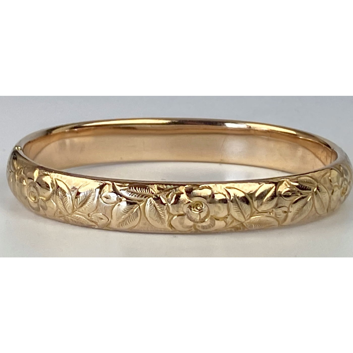 Deeply Engraved Floral Narrow Engagement Bangle