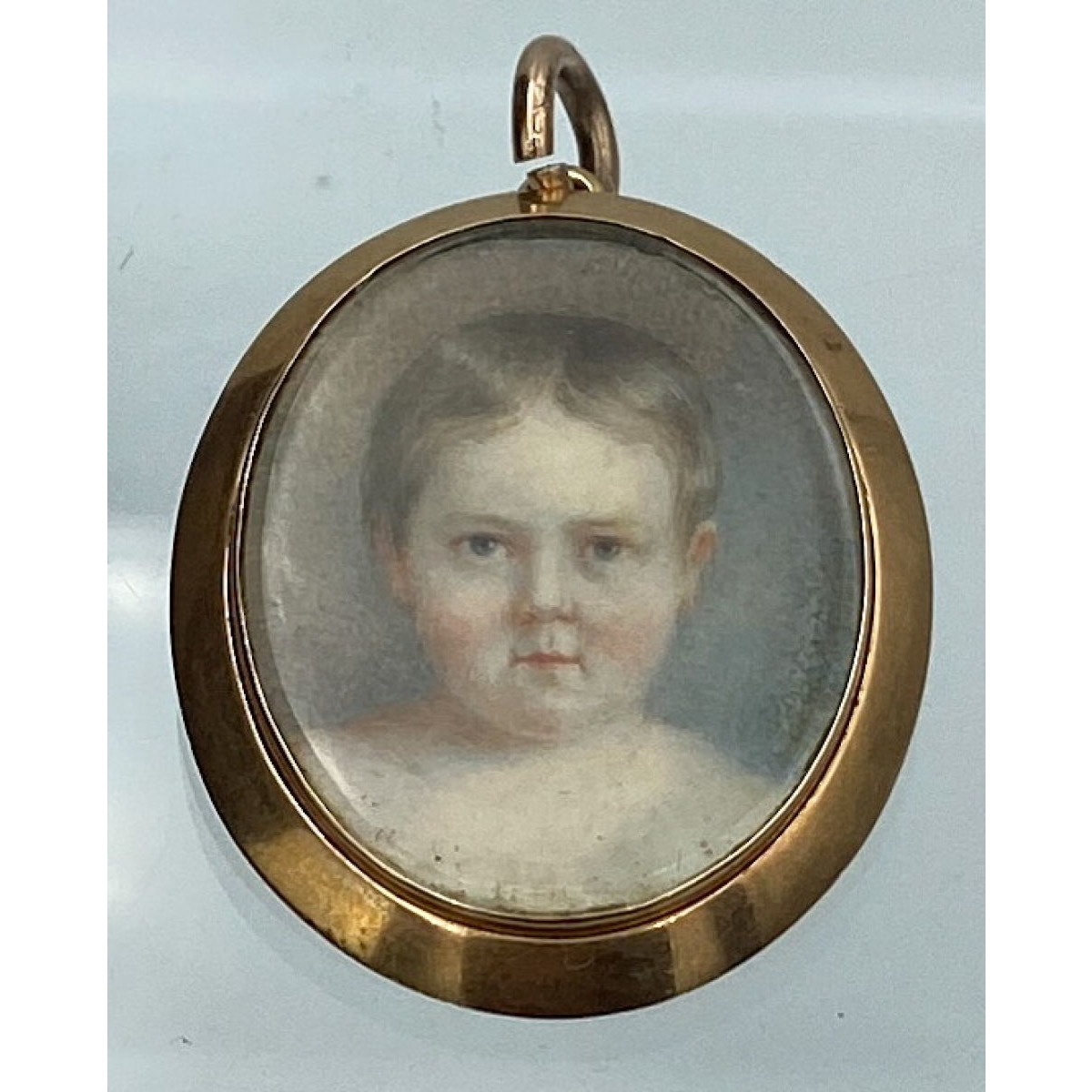 Hand-Painted Miniature Portrait in a Rose Gold Locket, Antique English Gold Pendant