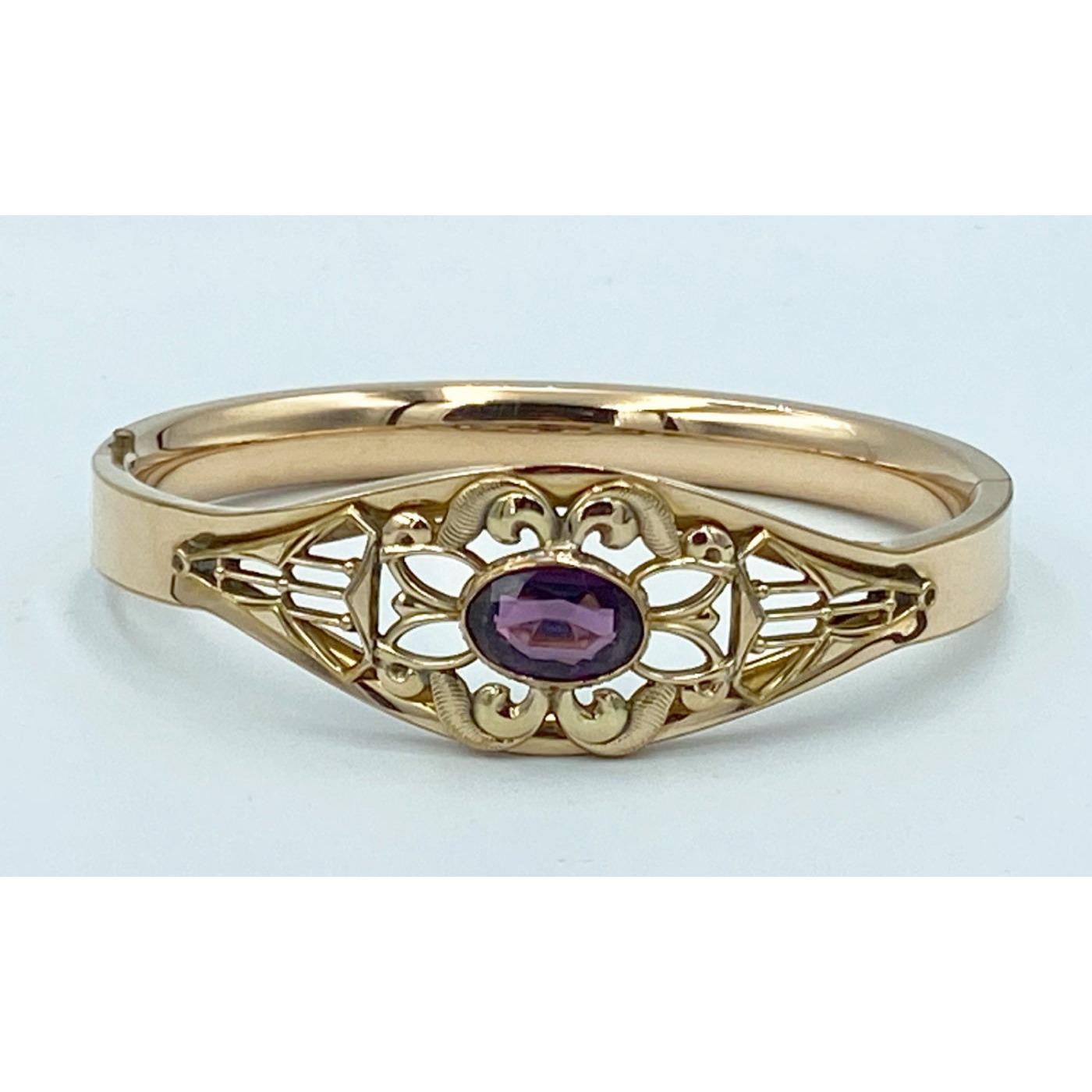 Sweet Wirework Surrounding Oval Purple Stone Engagement Bangle