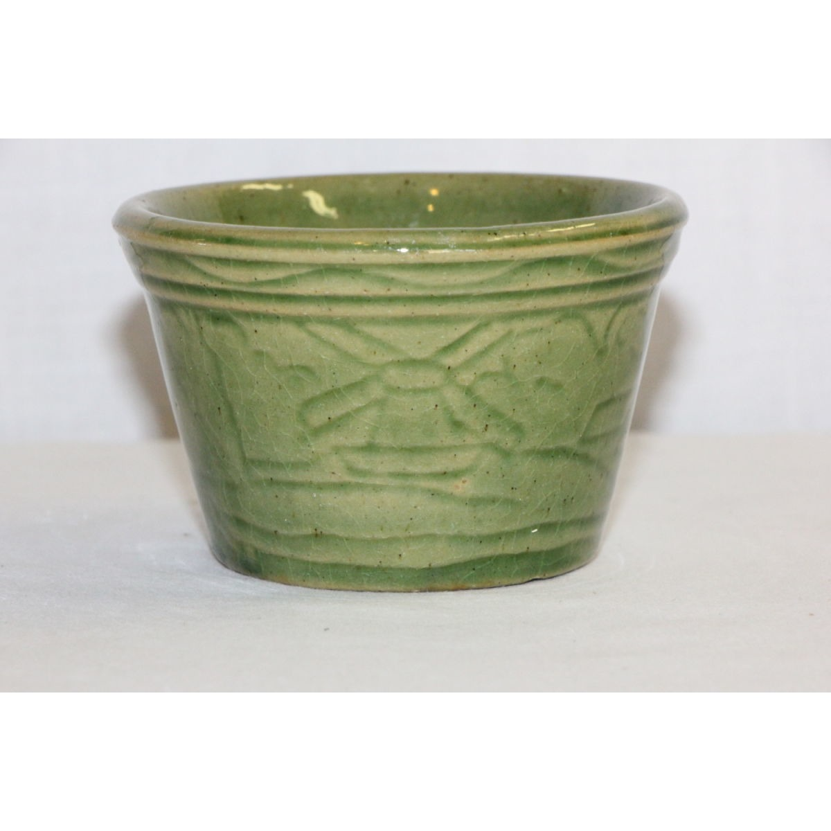 Green Glazed Yellowware Farm Scene Custard