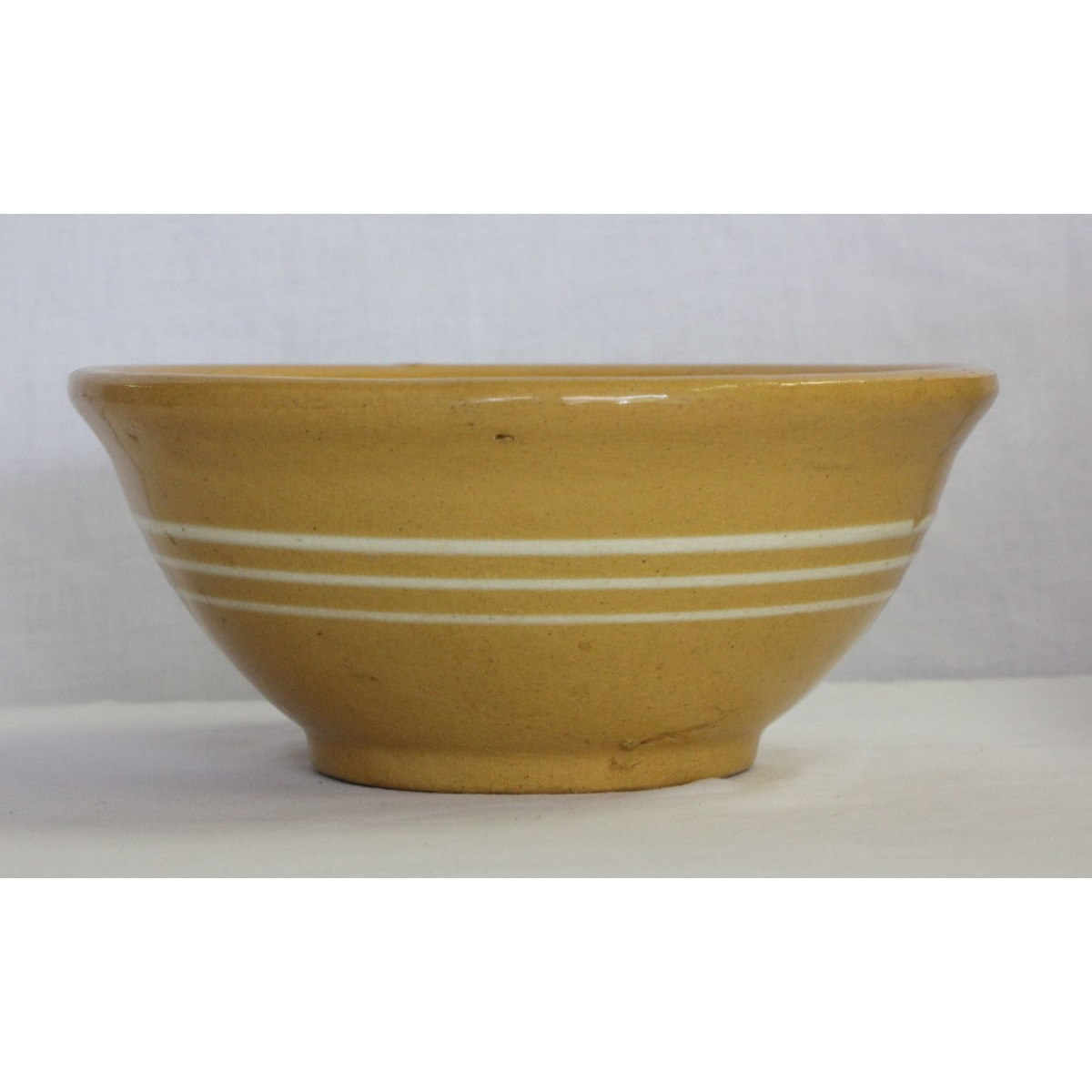 "Simple 3 White Banded Yellowware 8.5"" Bowl"