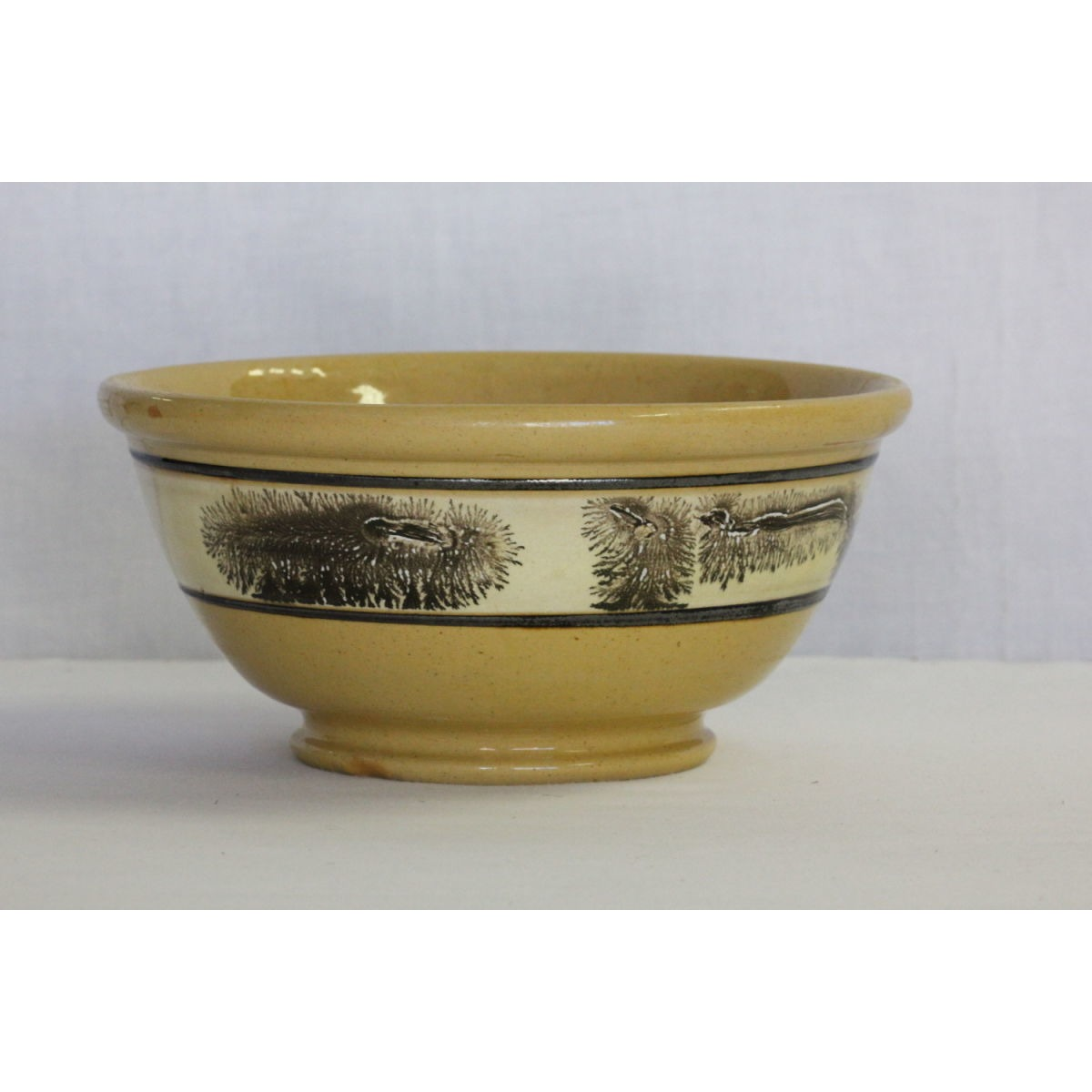 Incredible Black Seaweed-Decorated Yellowware Bowl