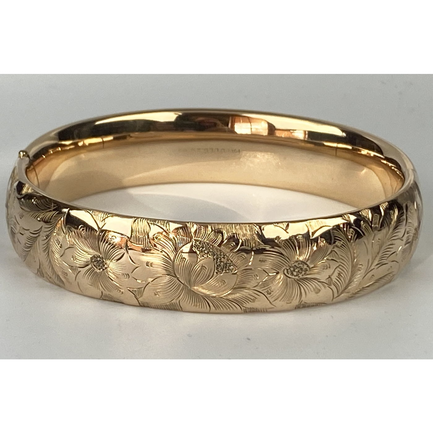 Medium Width Highly Decorative Floral Engagement Bangle