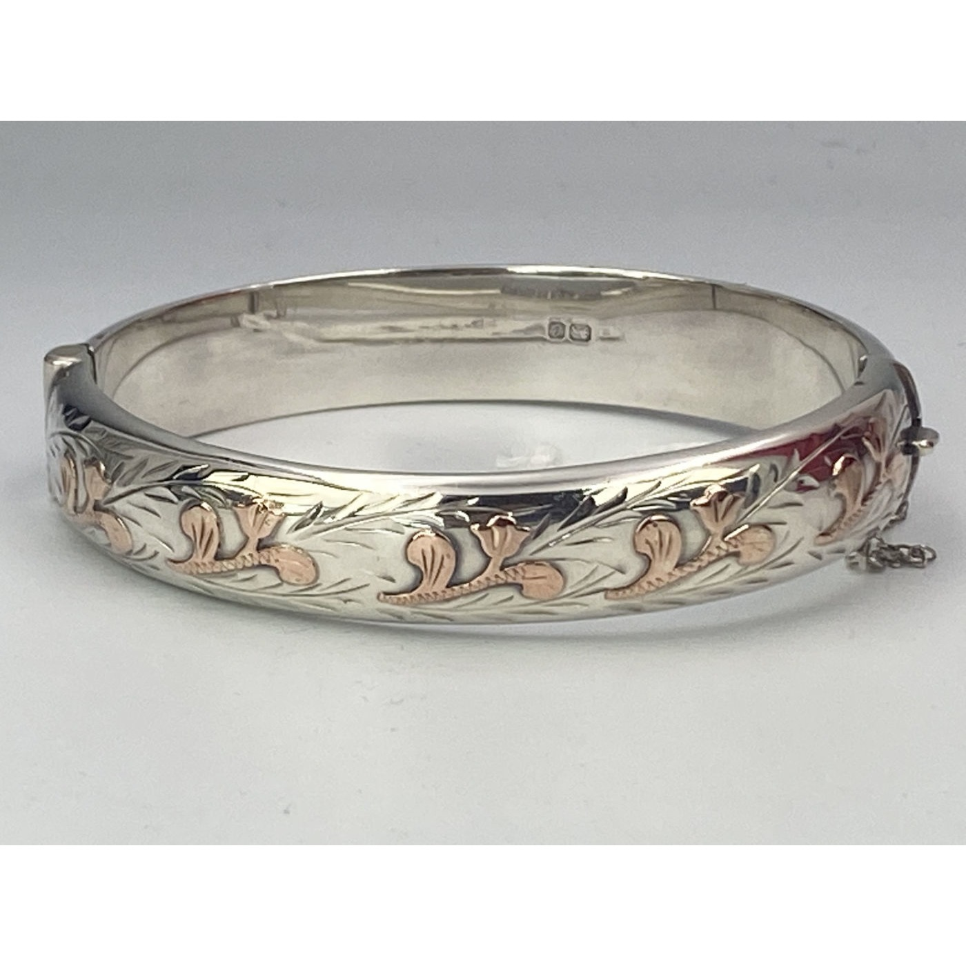 Rose Gold Small Tulip-style Decoration on a Narrow English Silver Bangle