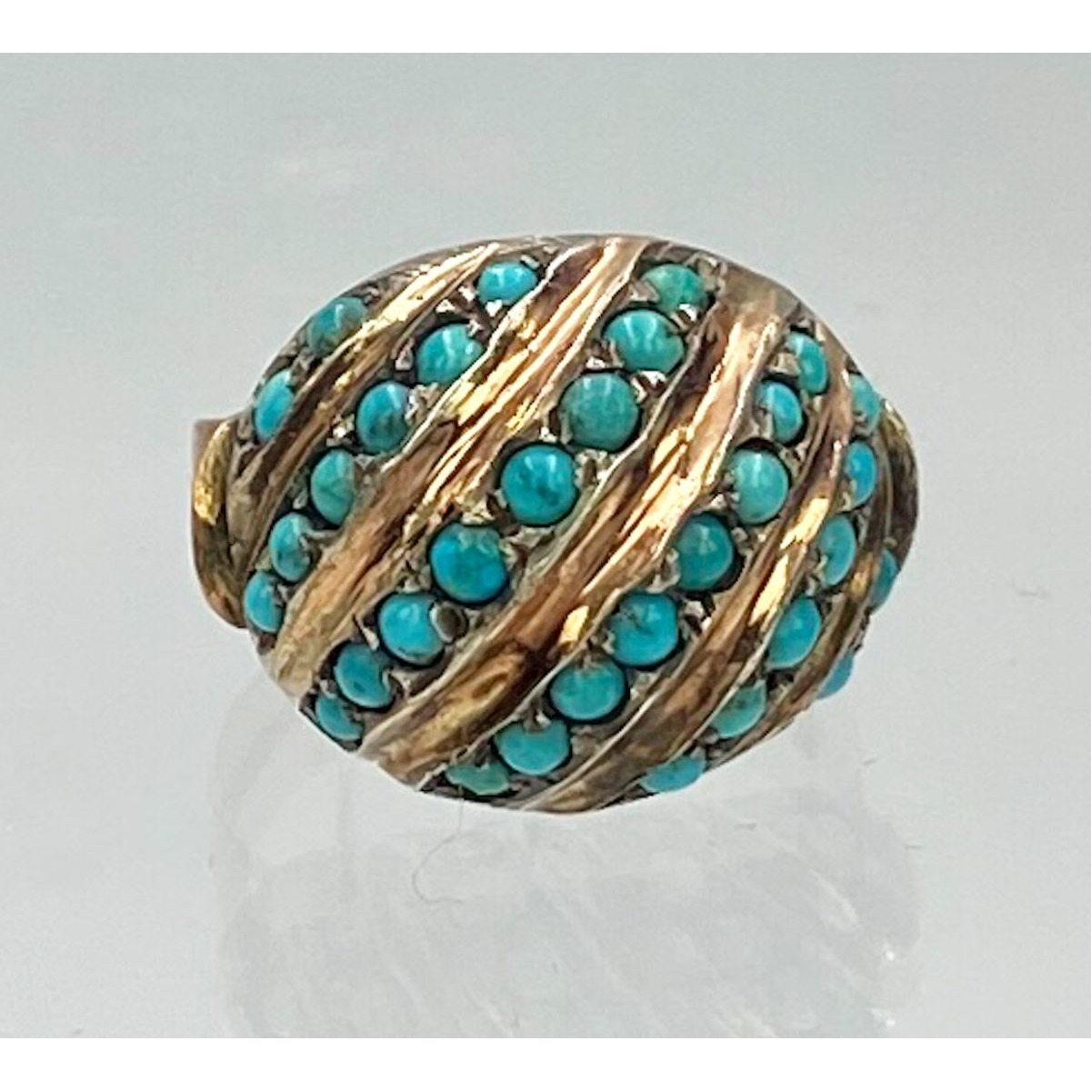 Diagonal Rows of Persian Turquoise in a Rose Gold Antique English Dome Ring