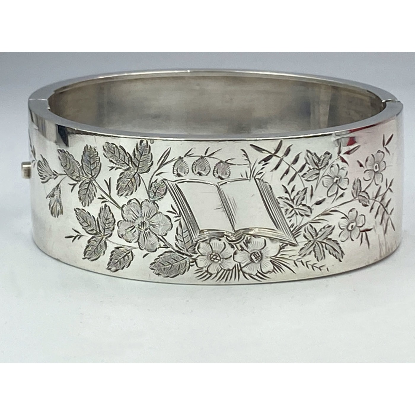 Highly Unusual Engraved Book Antique English Silver Bangle