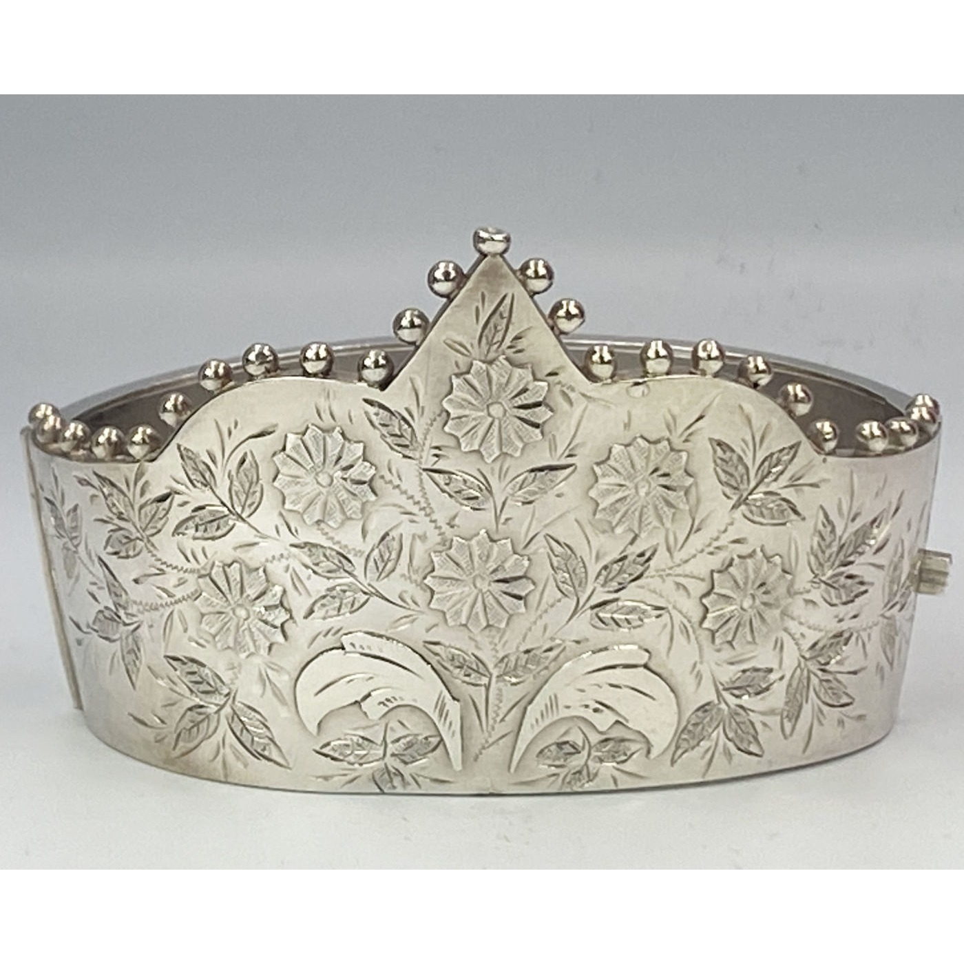 Rare Crown Shaped, Applied Flowers, English Silver Bangle March 17, 1885