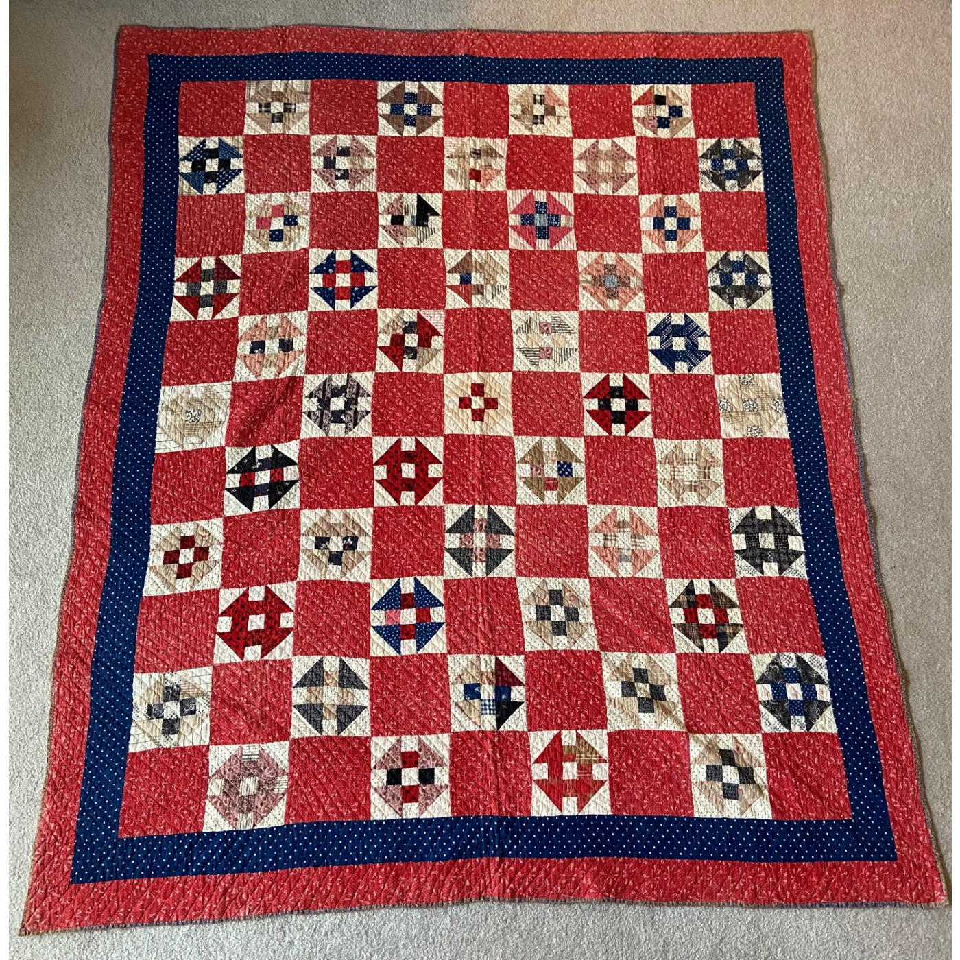 """Beautiful Early Fabric Country """"Churn Dash"""" Quilt"""