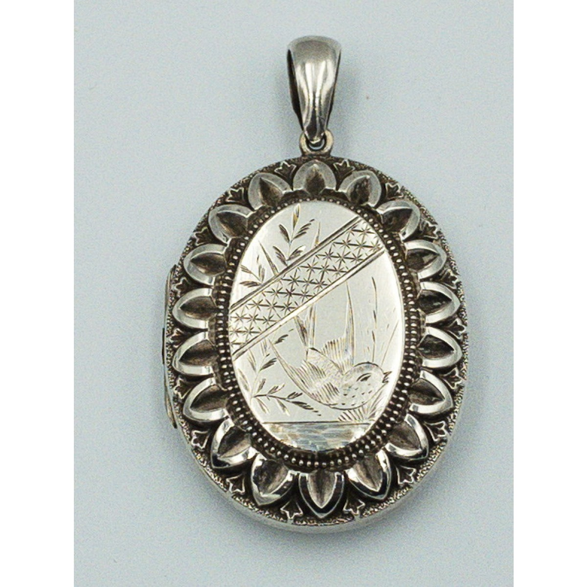 Outstanding ZigZag Border Large Engraved Swallow in Flight Victorian Antique English Silver Locket