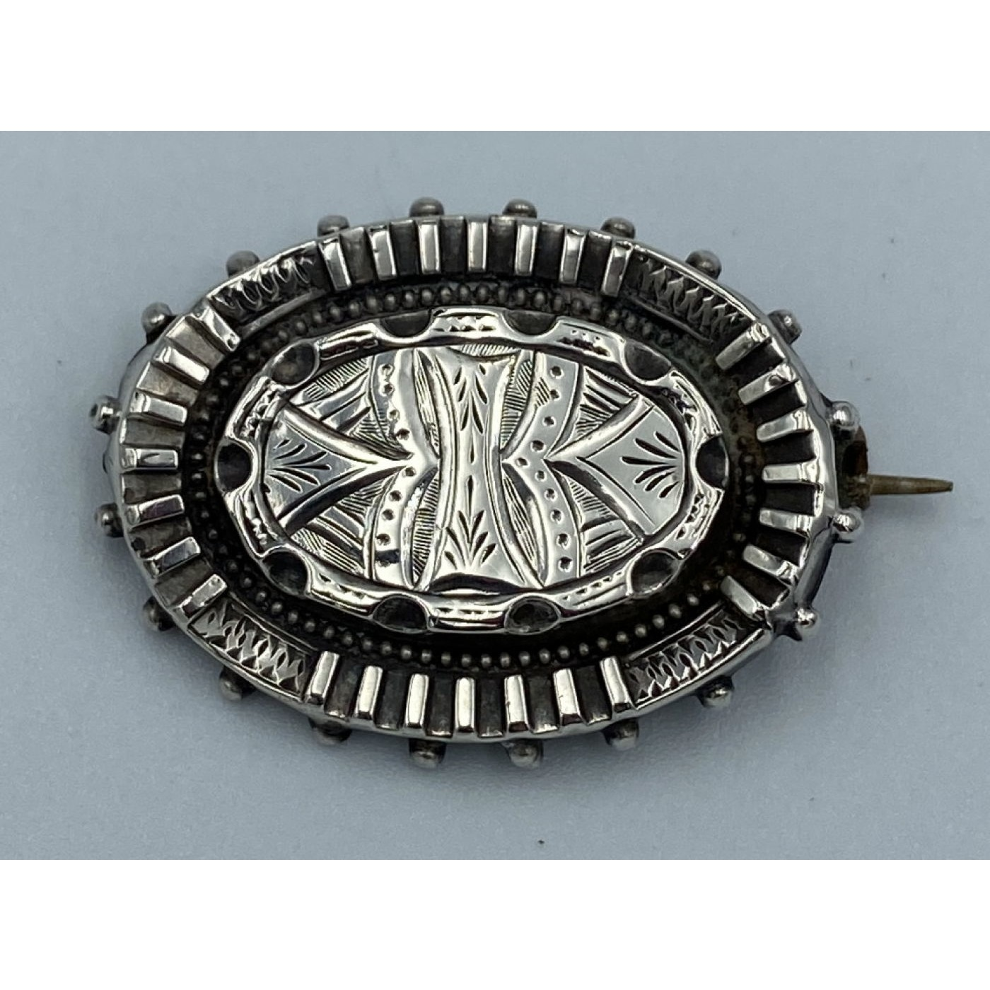 Sweet Victorian English Silver Pin with Fluted Edge