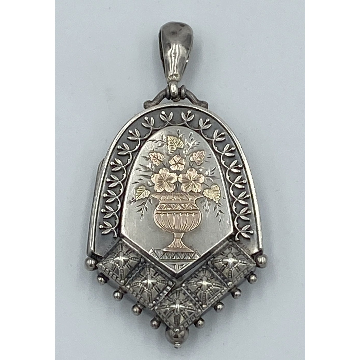 Tremendous Studded Antique English Silver Locket with Rose and Yellow Gold Floral Bouquet