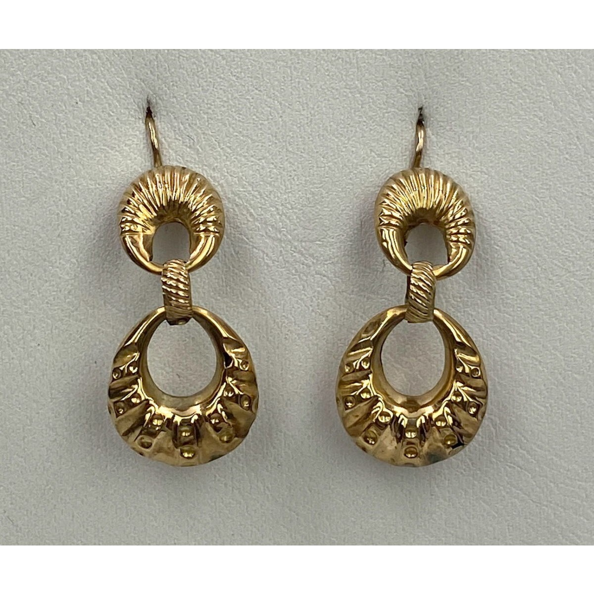 Figure-Eight 10kt Gold, Lovely Size and Awesome Presence Antique English Earrings