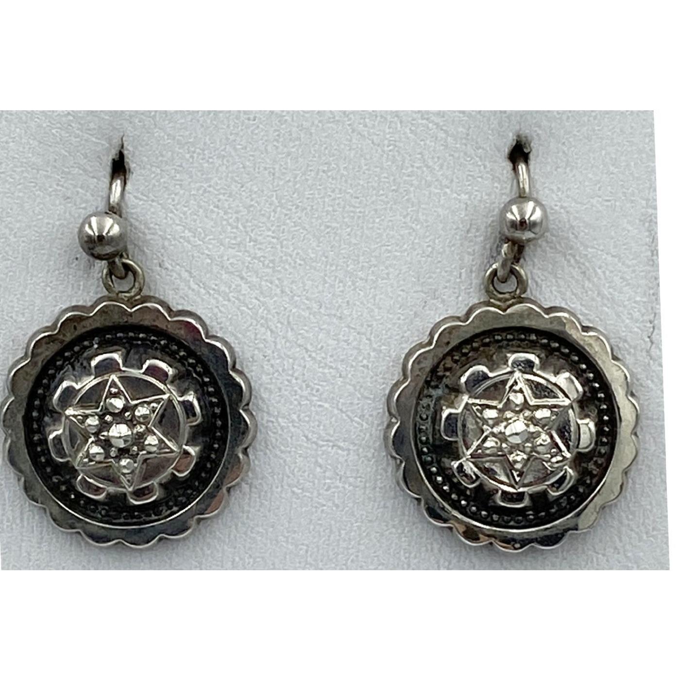 Fabulous Steel Cut Victorian English Sterling Silver Star Earrings