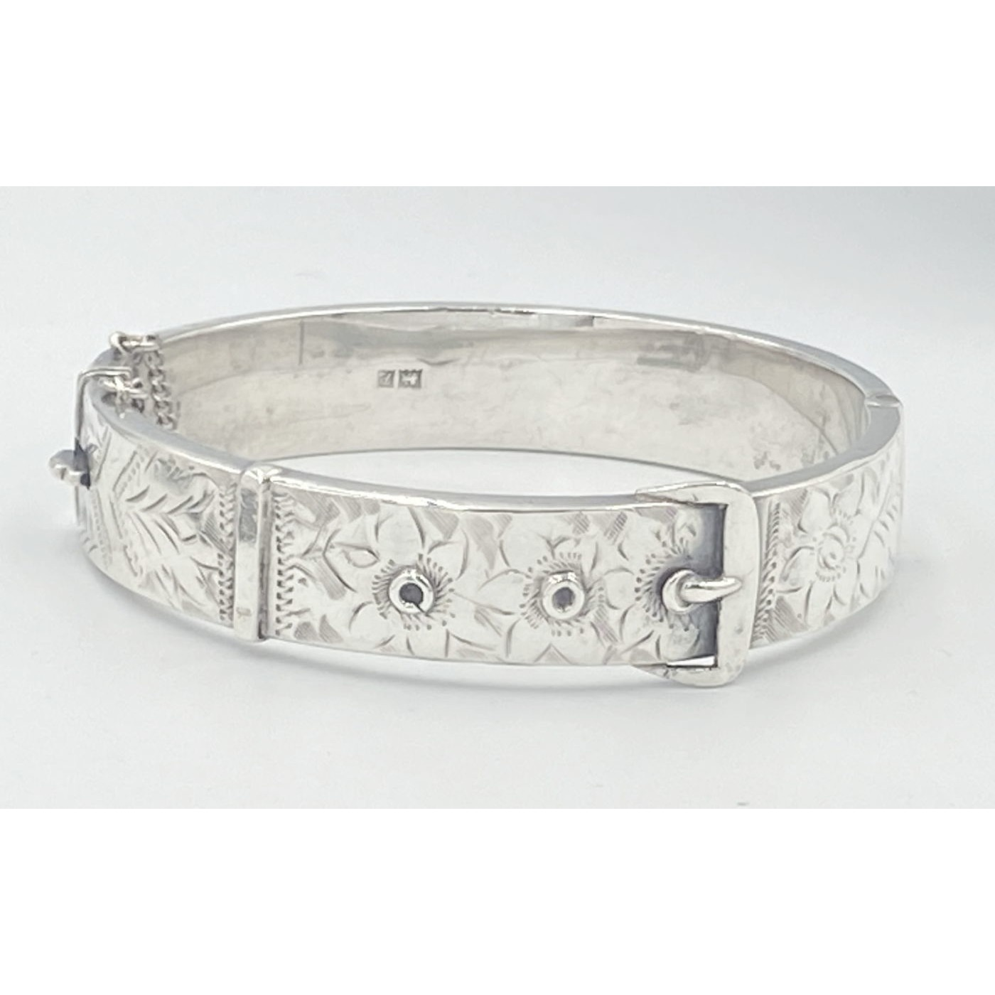 Excellent Smooth Sterling Silver English Buckle Bangle Bracelet