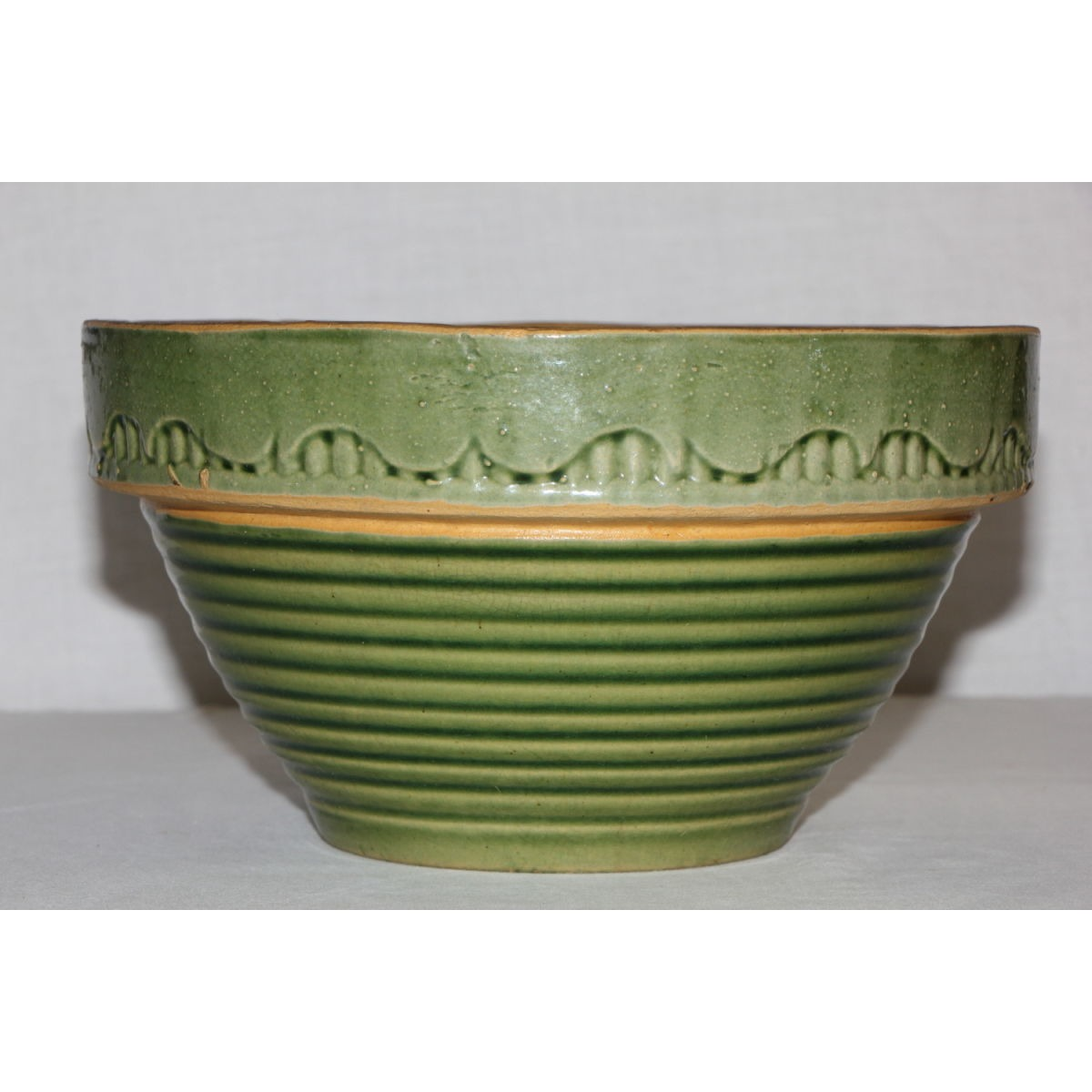 "Scarce Ringware Variant 8.5"" Green Glazed Yellowware Bowl"